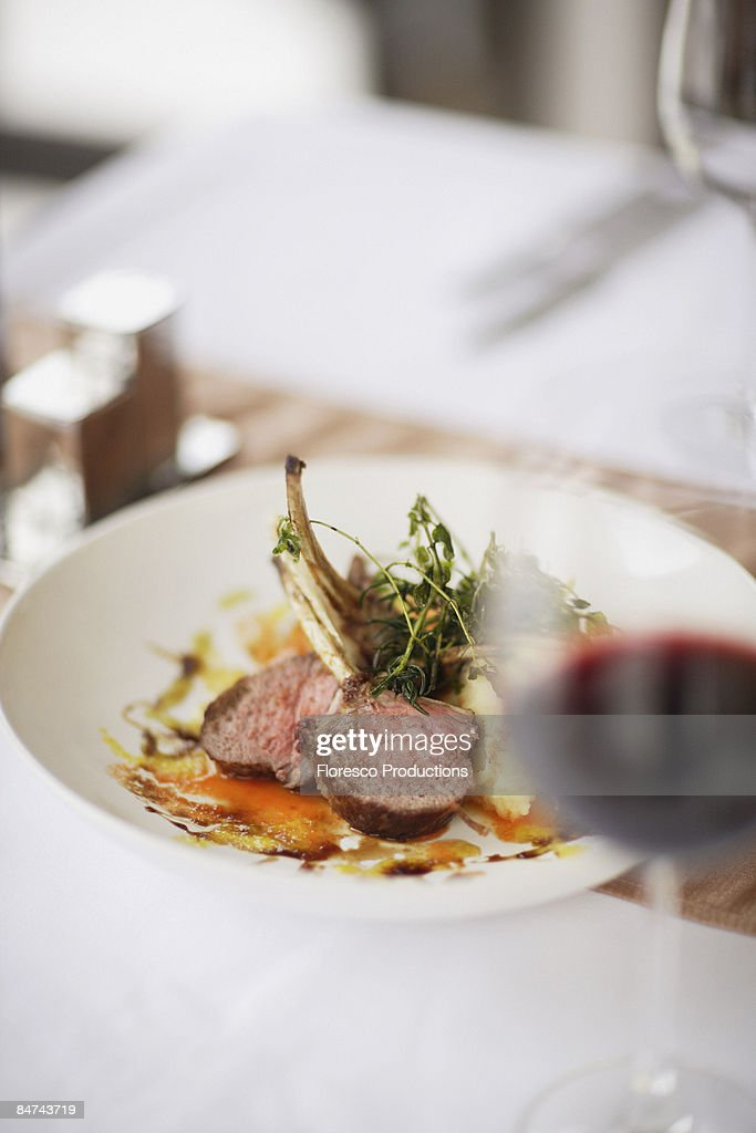 Gourmet entree in restaurant