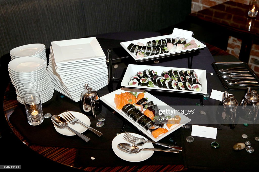 gourmet food on display during the Fanatics Super Bowl Party on February 6, 2016 in San Francisco, California.