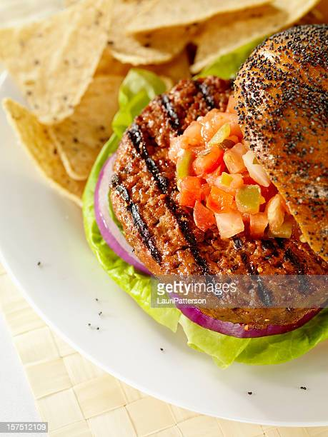Gourmet Hamburger with Salsa