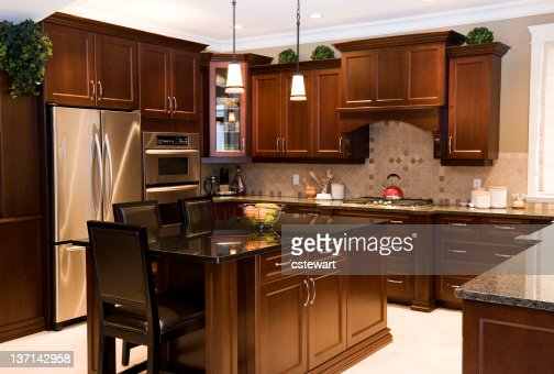 Gourmet Kitchen In New Home Stock Photo Getty Images