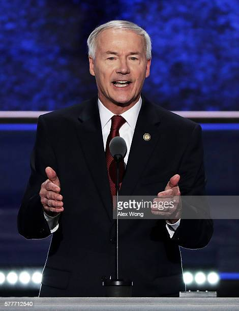 Gov Asa Hutchinson delivers a speech on the second day of the Republican National Convention on July 19 2016 at the Quicken Loans Arena in Cleveland...