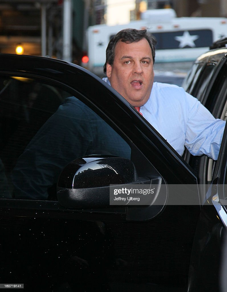 Gov. <a gi-track='captionPersonalityLinkClicked' href=/galleries/search?phrase=Chris+Christie&family=editorial&specificpeople=6480114 ng-click='$event.stopPropagation()'>Chris Christie</a> arrives to 'Late Show with David Letterman' at Ed Sullivan Theater on February 4, 2013 in New York City.