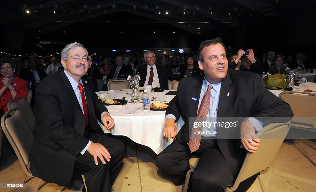 Gov. <a gi-track='captionPersonalityLinkClicked' href=/galleries/search?phrase=Chris+Christie&family=editorial&specificpeople=6480114 ng-click='$event.stopPropagation()'>Chris Christie</a> (R-NJ) attends a Birthday Bash for Gov. <a gi-track='captionPersonalityLinkClicked' href=/galleries/search?phrase=Terry+Branstad&family=editorial&specificpeople=985886 ng-click='$event.stopPropagation()'>Terry Branstad</a> (R-IA) October 25, 2014 in Clive, Iowa. Already distinguished as the states longest -serving governor, Branstad would become the longest -serving governor in U.S. history, were he to win the November 4th election.