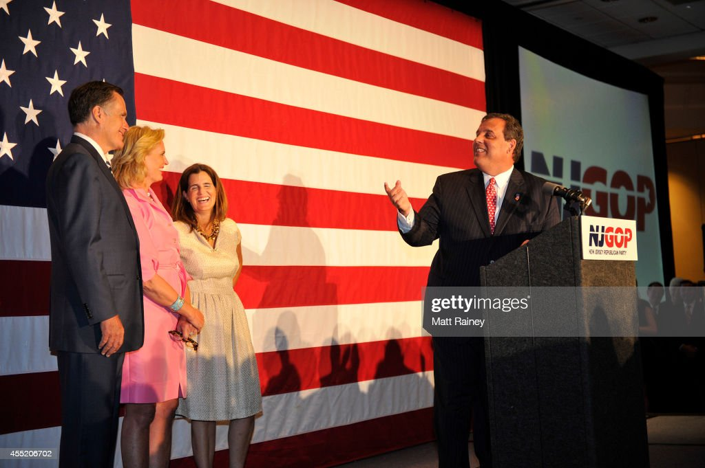 Gov. <a gi-track='captionPersonalityLinkClicked' href=/galleries/search?phrase=Chris+Christie&family=editorial&specificpeople=6480114 ng-click='$event.stopPropagation()'>Chris Christie</a> (R-NJ) looks over at former Republican presidential contender <a gi-track='captionPersonalityLinkClicked' href=/galleries/search?phrase=Mitt+Romney&family=editorial&specificpeople=207106 ng-click='$event.stopPropagation()'>Mitt Romney</a> as he addresses the audience during a birthday celebration on September 10, 2014 at The Hilton in East Brunswick, NJ. <a gi-track='captionPersonalityLinkClicked' href=/galleries/search?phrase=Mary+Pat+Christie&family=editorial&specificpeople=6483321 ng-click='$event.stopPropagation()'>Mary Pat Christie</a> and <a gi-track='captionPersonalityLinkClicked' href=/galleries/search?phrase=Ann+Romney&family=editorial&specificpeople=868004 ng-click='$event.stopPropagation()'>Ann Romney</a> appeared with their husbands on stage. The event, dubbed 'Governor <a gi-track='captionPersonalityLinkClicked' href=/galleries/search?phrase=Chris+Christie&family=editorial&specificpeople=6480114 ng-click='$event.stopPropagation()'>Chris Christie</a> 52nd Birthday Celebration,' also served as a NJ-GOP fundraiser.