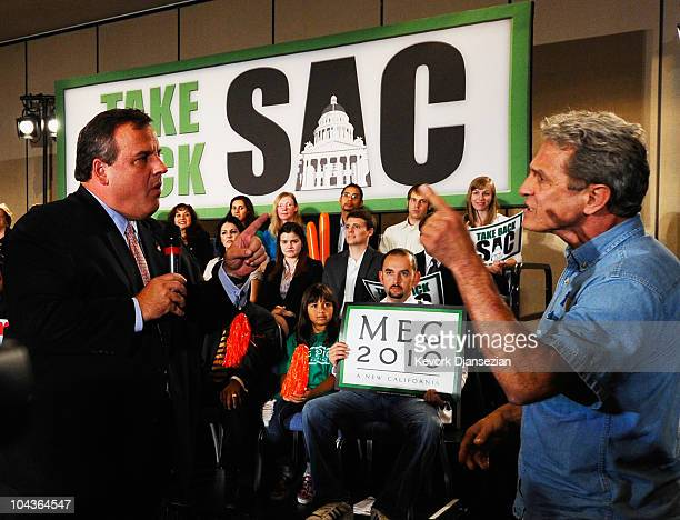 Gov Chris Christie of New Jersey confronts Ed Buck who disrupted California Republican Party gubernatorial candidate Meg Whitman's campaign event on...