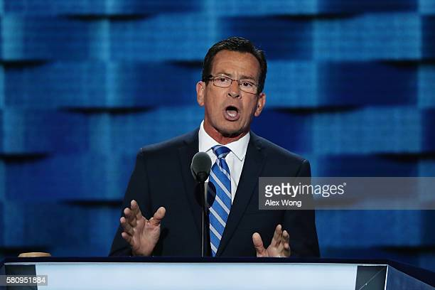 Gov Dan Malloy delivers a speech on the first day of the Democratic National Convention at the Wells Fargo Center July 25 2016 in Philadelphia...