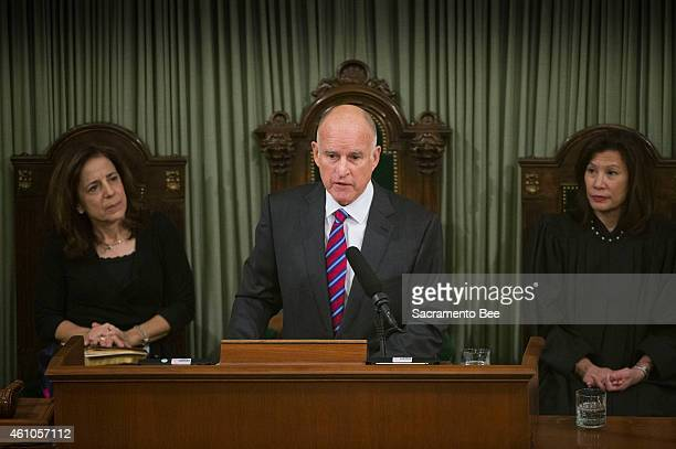 Gov Jerry Brown makes his inaugural address after he was sworn in by California Supreme Court Chief Justice Tani CantilSakauye right as she and First...
