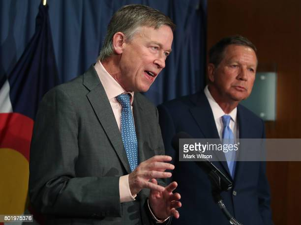 Gov John Hickenlooper and Gov John Kasich participate in a bipartisan news conference to discuss the Senate health care reform bill at the National...