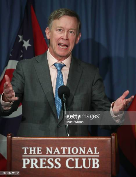 Gov John Hickenlooper speaks participate during a news conference with Gov John Kasich to discuss the Senate health care reform bill at the National...