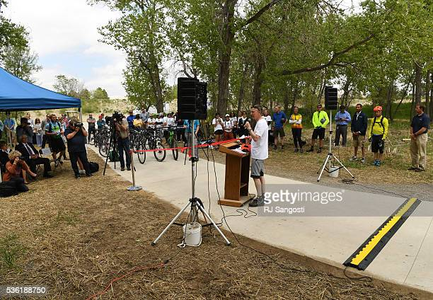 Gov John Hickenlooper speaks to a crowd as during the launch of a public outreach and planning initiative called Adventure on the Canal Charting our...