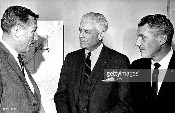 MAR 4 1965 Gov John Love Left Welcomes Ibm Officials To Colorado Thomas J Watson Jr center is IBM board chairman and Richard J Whalen right will be...