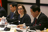 Gov Kate Brown of Oregon attends a meeting of US and Chinese governors and Chinese President Xi Jinping to discuss clean technology and economic...
