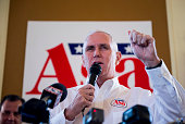 Gov Mike Pence RInd speaks during a rally for Arkansas Gubernatorial candidate Asa Hutchinson at Sues Kitchen in Jonesboro Ark on Friday Oct 31 2014