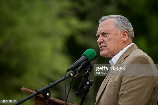 Gov Nathan Deal RGa speaks at the Law Enforcement Cookout at Wayne Dasher's pond house in Glennville Ga on Thursday April 17 2014 A crowd of over one...