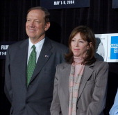 Gov of New York George Pataki and Jane Rosenthal during 2004 Tribeca Film Festival Press Conference at Silver Cup Studios East Stage C in New York...