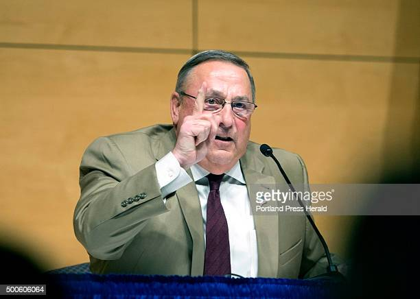 Gov Paul LePage brings his town hall tour to Portland speaking at the Abromson Center at the University of Southern Maine on Tuesday December 8 2015