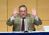 Gov Paul LePage signals that he is done with answering questions during a 'town hall' session at the Abromson Center at the University of Southern...