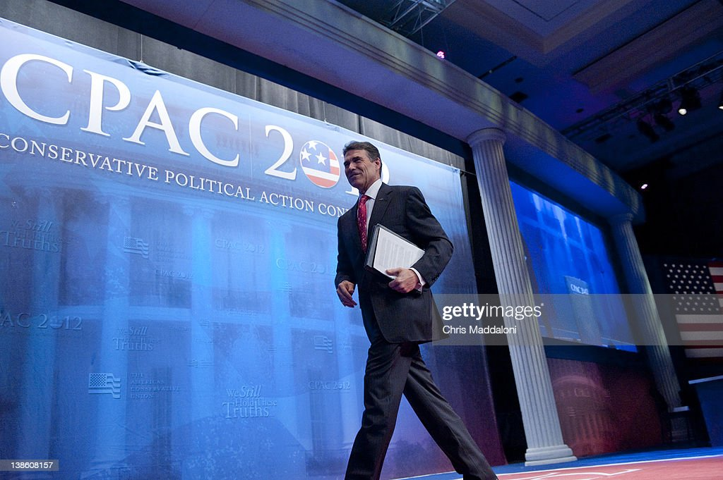 Gov. Rick Perry, R-Tx., leaves after speaking at the 2012 Conservative Political Action Conference in Washington, DC.