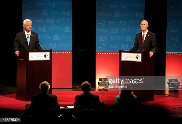 Gov Rick Scott right and Charlie Crist face off in the second of three Florida gubernatorial debates on Wednesday Oct 15 at Broward College in Davie...
