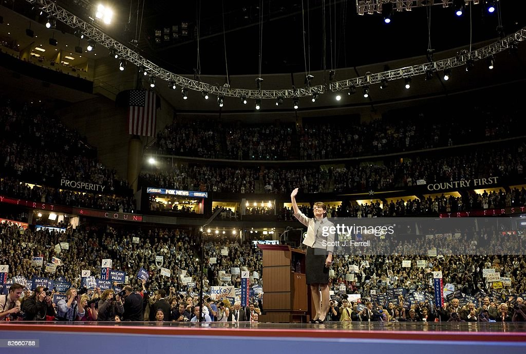 Gov Sarah Palin of Alaska acknowledges the crowd during her speech accepting the vicepresidential nomination at the Republican National Convention on...