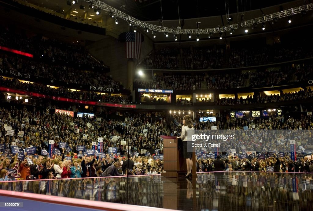 Gov Sarah Palin of Alaska addresses the crowd during her speech accepting the vicepresidential nomination at the Republican National Convention on...