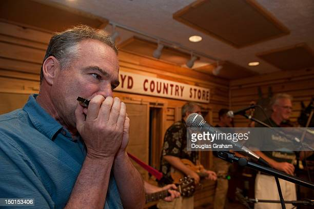 Gov Tim Kaine plays the harmonica for a packed house at the Floyd Country Store in Floyd Virginia Gov Kaine is campaigning in Southwest Virginia this...