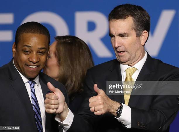Govelect Ralph Northam and Lt Govelect Justin Fairfax greet supporters at an election night rally November 7 2017 in Fairfax Virginia Northam...