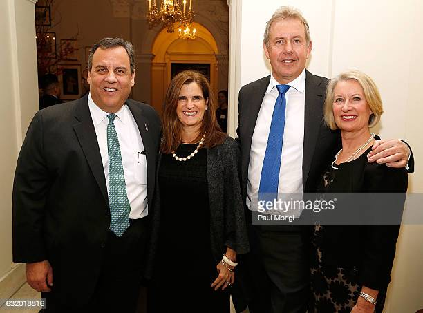 NJ Govenor Chris Christie Mary Pat Christie British Ambassador Kim Darroch and Lady Vanessa Darroch pose for a photo at an Afternoon Tea hosted by...