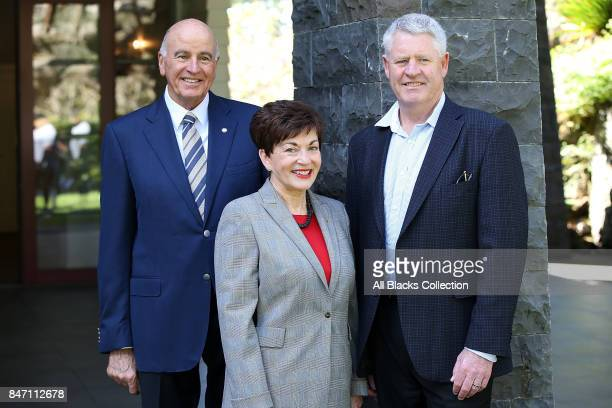 Govenor General the Rt Hon Dame Patsy Reddy her husband Sir David Gascoigne and NZR CEO Steve Tew during a meet and greet with the All Blacks and...