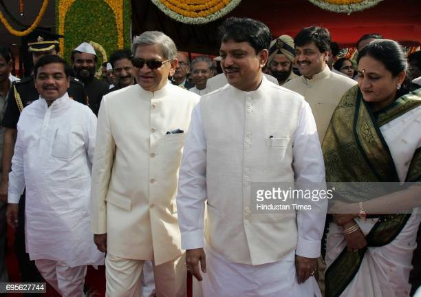 Governer sm Krishna comes out with chief minister vilasrao deshmukh and deputy chief minister rr Patil after attending maharashtra day parade at...