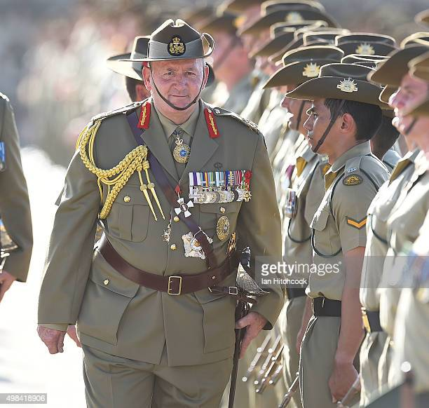 GovernerGeneral His Excellency General the Honourable Sir Peter Cosgrove AK MC inspects the troops on the parade ground at Lavarack Barracks on...