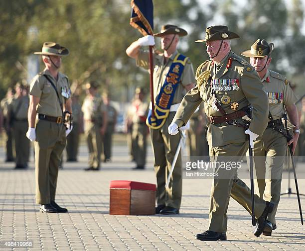 GovernerGeneral His Excellency General the Honourable Sir Peter Cosgrove AK MC walks back to the podium after the consecration of the colours during...