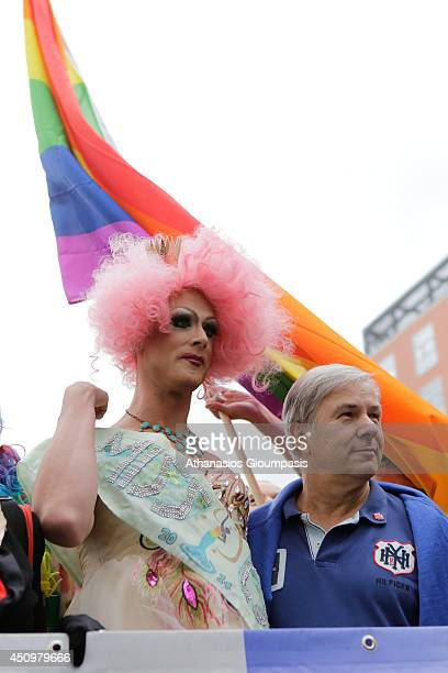 Governing Mayor of Berlin Klaus Wowereit attends Berlin's annual Christopher Street Day parade on June 21 2014 in Berlin Germany Gays and lesbians...