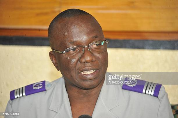 Government commissionner colonel Alioune Zanre gives a press conference on July 22 2016 in Ouagadougou The remains of Burkinabe president Thomas...