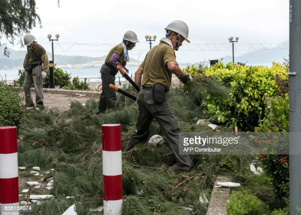 Government contractors clear out broken branches and left rubbish in Heng Fa Chuen in Hong Kong on August 24 a day after Typhoon Hato downed trees...