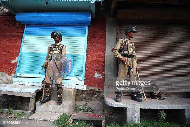 Government forces stand alert in curfew at old Srinagar the summer capital of India controlled by Kashmir