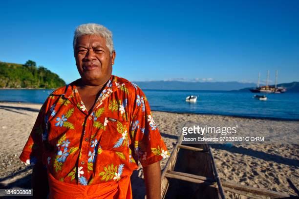 Government Minister for Tourism on the beach of his island home Kioa Island Somosomo Strait Pacific Ocean Fiji Islands