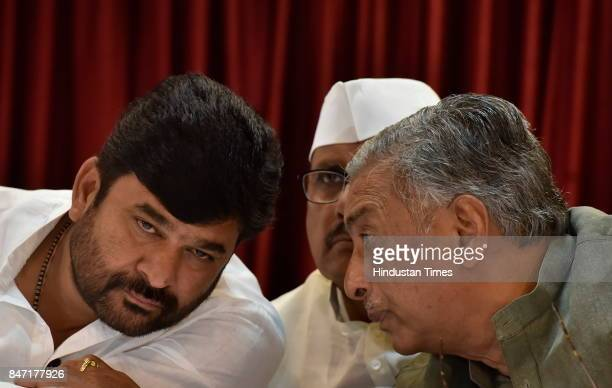 Government of Karnataka Minister for Mines and Geology Vinay Kulkarni Legislators BR Patil and Basavaraj Horatti during a press conference on...