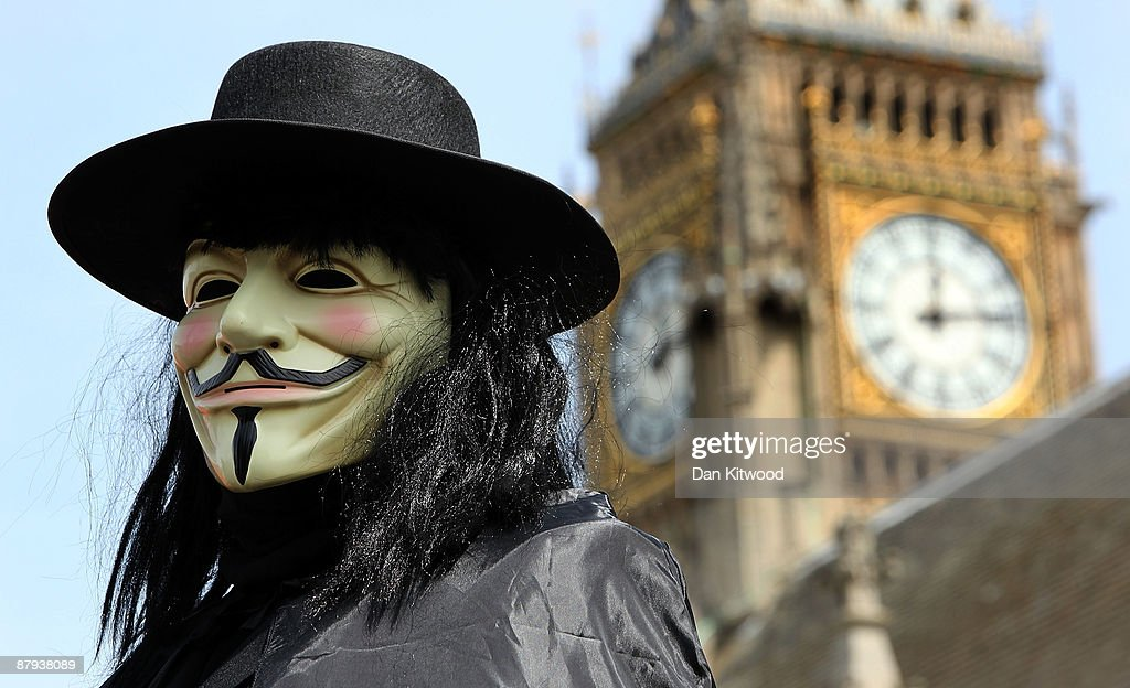 A 'Government of the Dead' campaigner stands outside the Houses of parliament on May 23, 2009 in London, England. The group are calling for the sacking of MPs who's suspect expenses claims have recently been revealed by the media. Yesterday it was revealed that Ex-SAS officer John Wick leaked the data of all MPs' expenses to the Daily Telegraph after he had acquired them from an anonymous source.