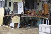 Government office sits submerged in the flood water on September 11 2014 in Srinagar India Total of 130000 people have been rescued so far from...