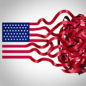 Government red tape concept and American bureaucracy symbol as an icon of the flag of the United States with the red stripes getting tangled in confusion as a metaphor for political and administration