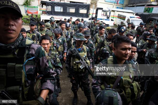Government troops conduct an operation against Maute rebels in Marawi City in Southern Philippines on June 6 2017 Philippine military jets fired...