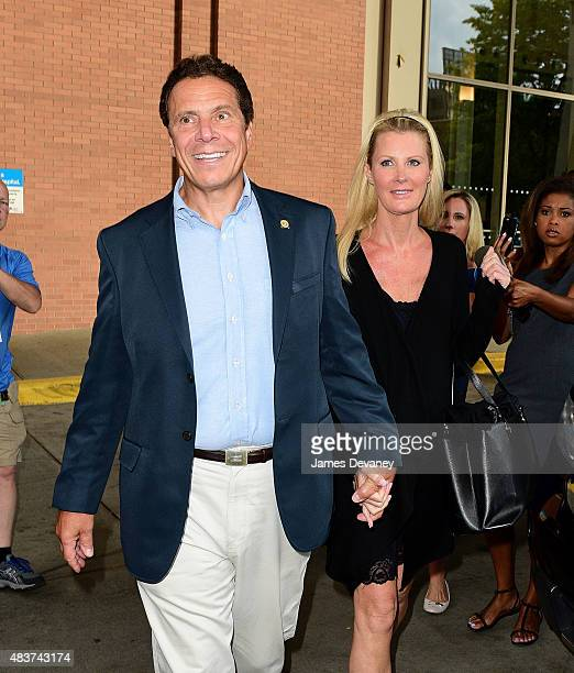 Governor Andrew Cuomo and Sandra Lee leave Mount Sinai Roosevelt Hospital on August 12 2015 in New York City