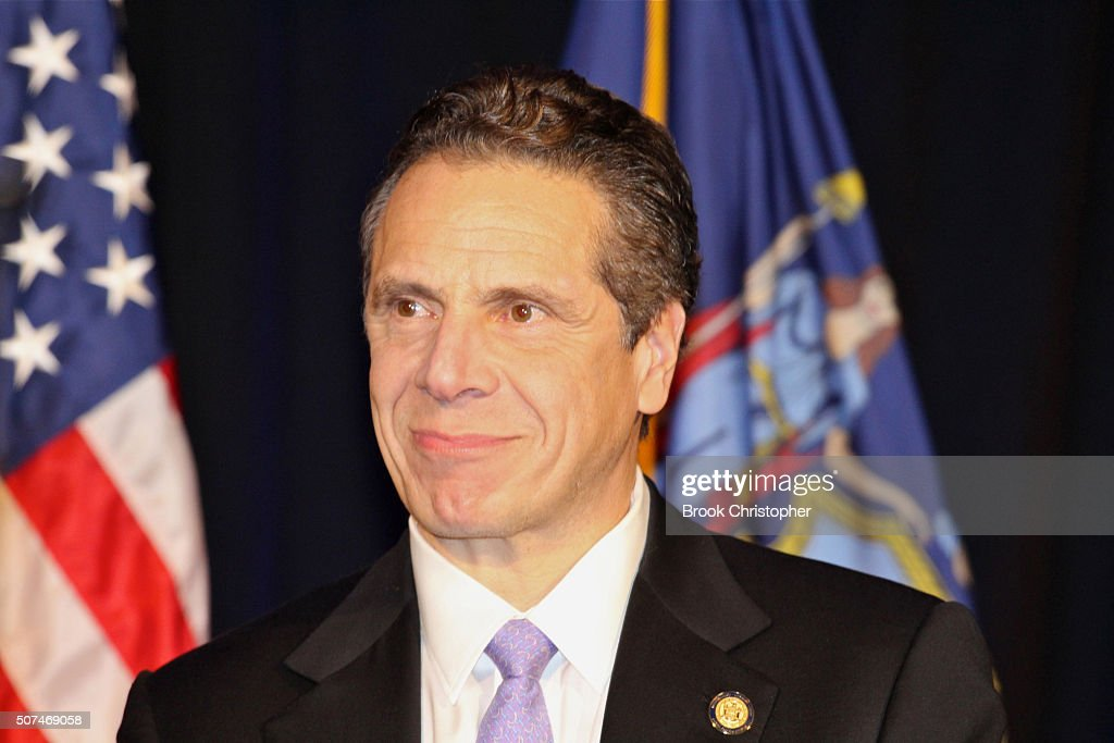 NY Governor Andrew Cuomo attends a rally for paid family leave as he and U.S. Vice President Joe Biden deliver remarks on economy on January 29, 2016 in New York City.