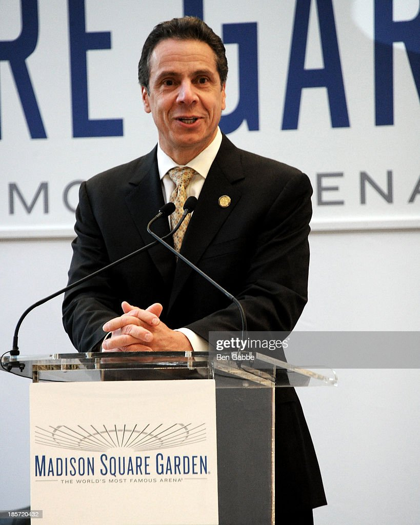 Governor <a gi-track='captionPersonalityLinkClicked' href=/galleries/search?phrase=Andrew+Cuomo&family=editorial&specificpeople=228332 ng-click='$event.stopPropagation()'>Andrew Cuomo</a> attends the Madison Square Garden Transformation Unveiling at Madison Square Garden on October 24, 2013 in New York City.