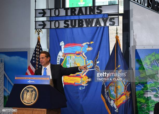 Governor Andrew M Cuomo holds a news conference before he takes take the press on a tour on June 19 2017 in New York as they mark the opening of Penn...