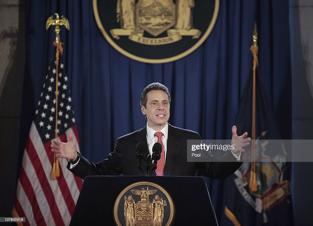Governor Andrew M. Cuomo speaks at his inauguration in the War Room at the state Capitol on January 1, 2011 in Albany, New York. In attendance were Governor Cuomo's girlfriend Sandra Lee, his daughters Michaela, Mariah and Cara and his parents former Governor Mario M. Cuomo and Matilda Cuomo.