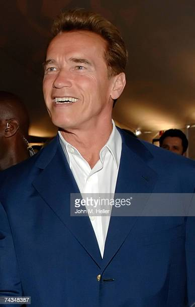 Governor Arnold Schwarzenegger attends the Stanley Cup VIP reception before Game One of the 2007 NHL Stanley Cup Finals between the Ottawa Senators...