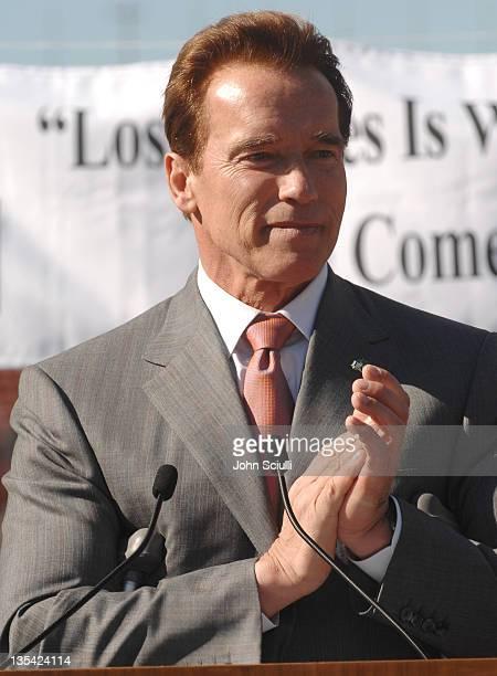 Governor Arnold Schwarzenegger during Gov Schwarzenegger and Mayor Villaraigosa add California's Voice To Chrous Of ASupport For LA's 2016 Olympic...