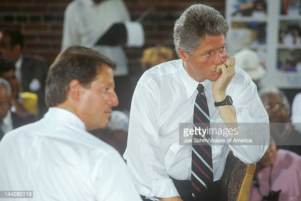 Governor Bill Clinton and Senator Al Gore at the Louis Stokes Day Care Center during the 1992 Buscapade campaign tour in East Cleveland Ohio
